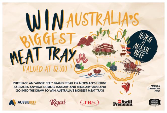 Win Australia's Biggest Meat Tray - 160Kg Aussie Beef