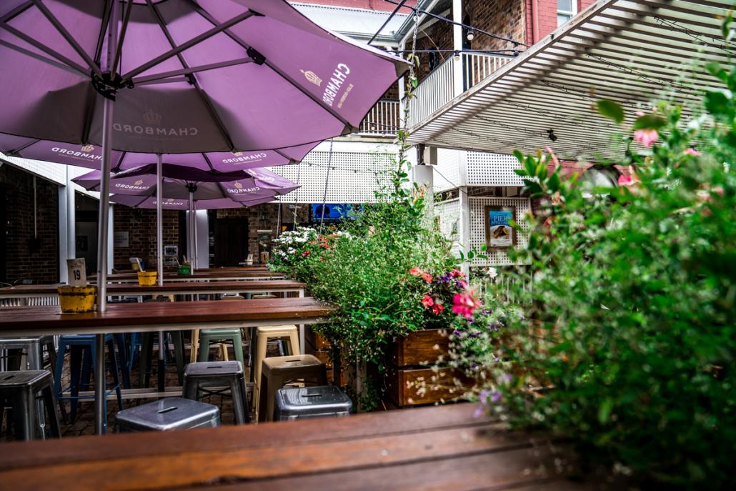 Garden bar in the rain
