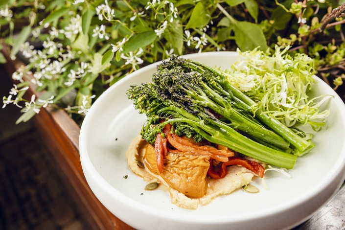 BBQ Broccolini, Roast Pumpkin & Capsicum w Hummus, Toasted Pepita & Shallot Vinaigrette Vegetarian Salad