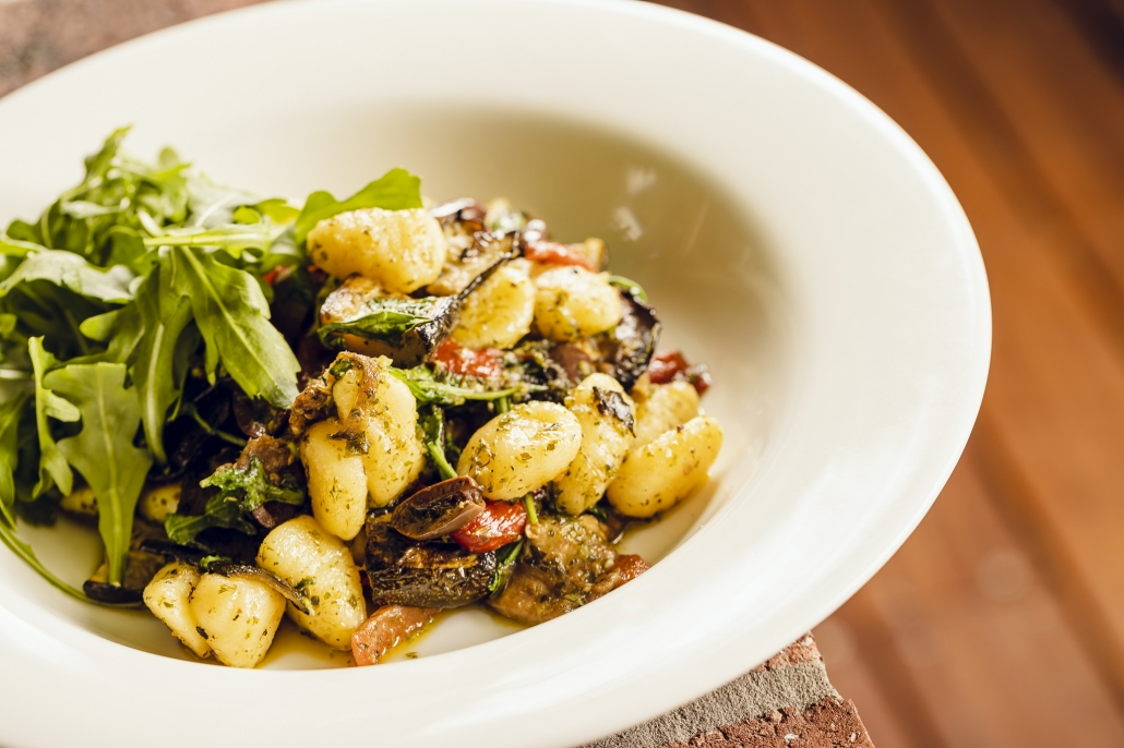 Potato Gnocchi w Mediterranean Vegetables & Salsa Verde Vegan Dish
