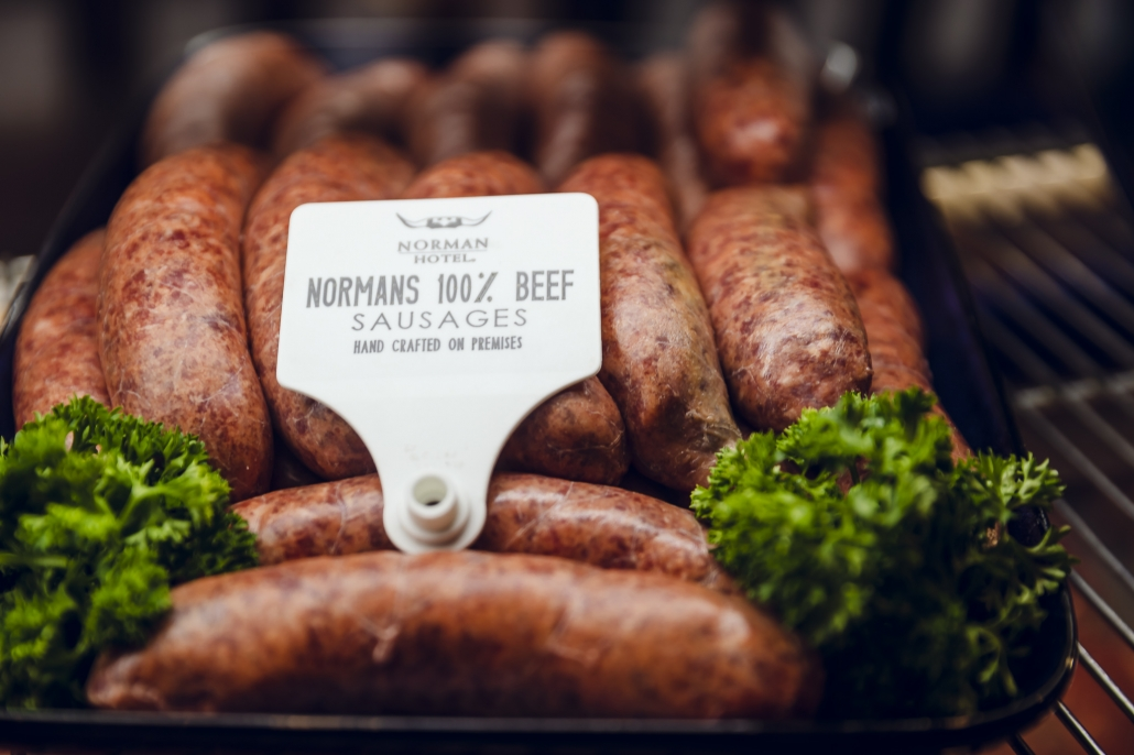 Norman's iconic beef cabinet 100% Beef Sausages